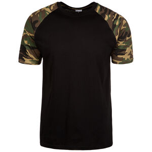 Raglan Contrast T-Shirt Herren, schwarz / khaki, zoom bei OUTFITTER Online
