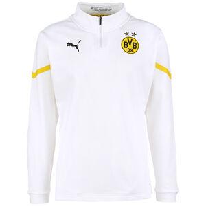 Borussia Dortmund Prematch 1/4 Zip Sweatshirt Herren, weiß / gelb, zoom bei OUTFITTER Online