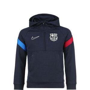 FC Barcelona Travel Fleece Kapuzenpullover Kinder, dunkelblau / rot, zoom bei OUTFITTER Online