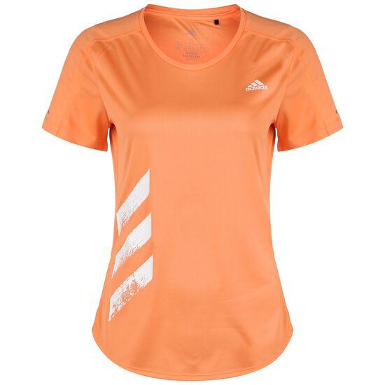 Run It 3 Stripes Laufshirt Damen, orange, zoom bei OUTFITTER Online