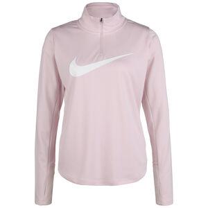 Swoosh Essential 1/4 Zip Laufsweatshirt Damen, rosa / weiß, zoom bei OUTFITTER Online