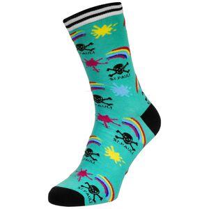 Regenbogen Totenkopf Socken, türkis / schwarz, zoom bei OUTFITTER Online