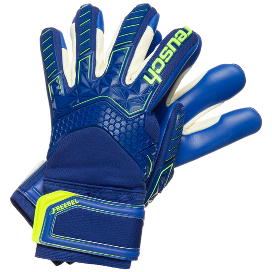 Attrakt Freegel S1 Finger Support Torwarthandschuh Herren, blau / neongelb, zoom bei OUTFITTER Online