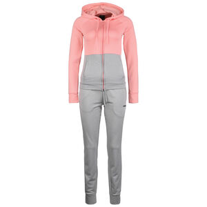 Linear French Terry Trainingsanzug Damen, rosa / grau, zoom bei OUTFITTER Online