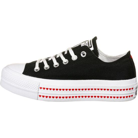 Chuck Taylor All Star Platform Canvas Ox Sneaker Damen, schwarz / rot, zoom bei OUTFITTER Online