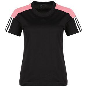 Essentials Logo Trainingsshirt Damen, schwarz / rosa, zoom bei OUTFITTER Online