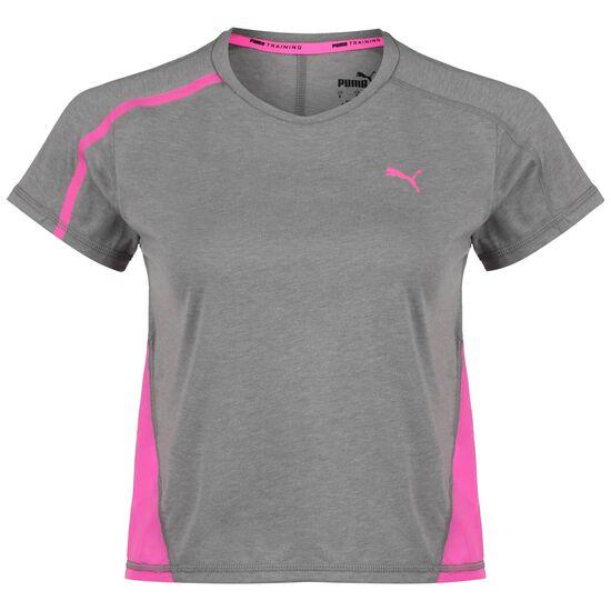 Mesh Panel Trainingsshirt Damen, grau / pink, zoom bei OUTFITTER Online