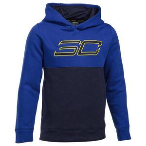 SC Fleece Logo Kapuzenpullover Kinder, blau / gelb, zoom bei OUTFITTER Online