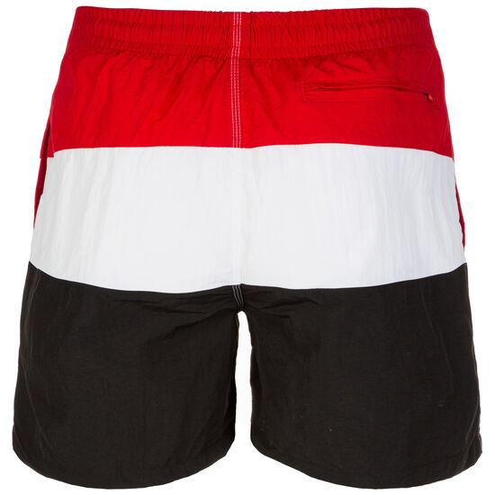 Color Block Swim Short Herren, schwarz / rot / weiß, zoom bei OUTFITTER Online