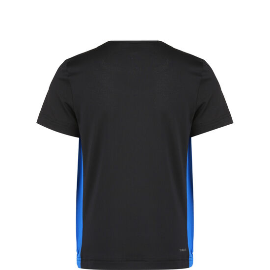 Colorblock Trainingsshirt Kinder, schwarz / blau, zoom bei OUTFITTER Online