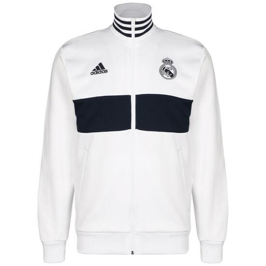 Real Madrid 3-Streifen Trainingsjacke Herren, weiß / dunkelblau, zoom bei OUTFITTER Online