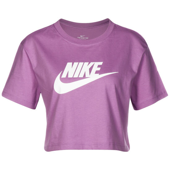 Essential Cropped T-Shirt Damen, lila / weiß, zoom bei OUTFITTER Online