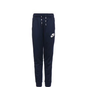 Poly Tapered Jogginghose Kinder, dunkelblau / weiß, zoom bei OUTFITTER Online