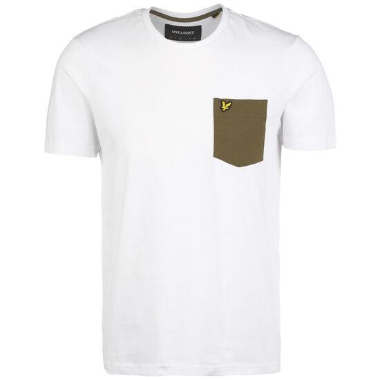Contrast Pocket T-Shirt Herren, weiß / oliv, zoom bei OUTFITTER Online