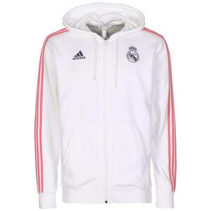 Real Madrid  3-Streifen Kapuzenjacke Herren, weiß / rot, zoom bei OUTFITTER Online