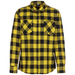Checked Flanell Langarmhemd Herren, schwarz / gelb, zoom bei OUTFITTER Online