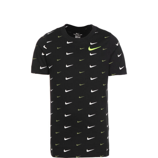 Swoosh All Over Print T-Shirt Kinder, schwarz / weiß, zoom bei OUTFITTER Online