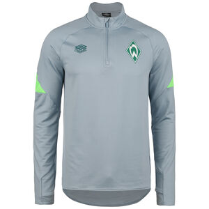 SV Werder Bremen Half-Zip Trainingssweat Herren, hellgrau / neongrün, zoom bei OUTFITTER Online
