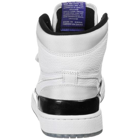 Retro High 1 Double Strap Basketballschuh Herren, weiß / lila, zoom bei OUTFITTER Online