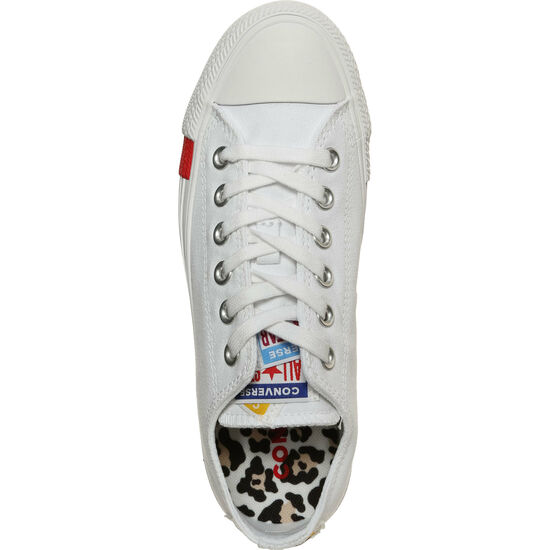 Chuck Taylor All Star Logo Stacked OX Sneaker Damen, weiß / rot, zoom bei OUTFITTER Online