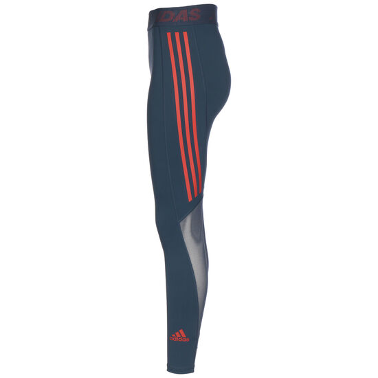 Techfit 3-Streifen Trainingstight Damen, petrol / orange, zoom bei OUTFITTER Online