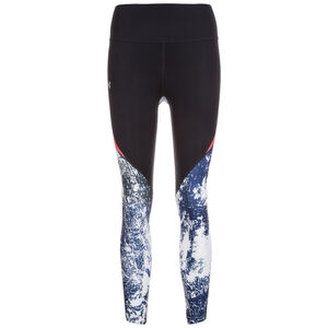 HeatGear Run True Printed Crop Lauftight Damen, Schwarz, zoom bei OUTFITTER Online