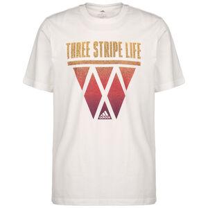 3-Stripes Hoops T-Shirt Herren, weiß / orange, zoom bei OUTFITTER Online
