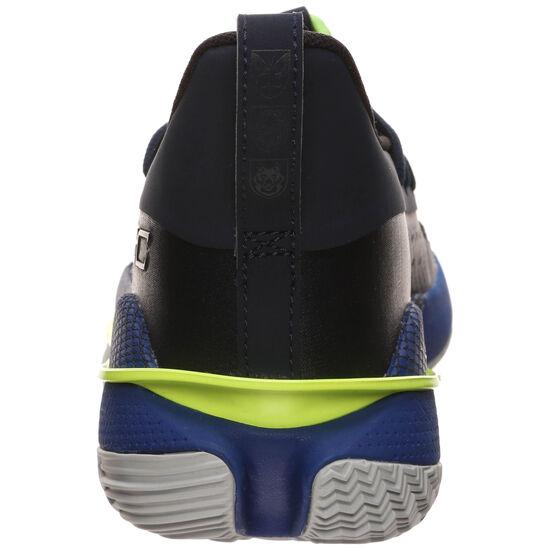 Curry 7 Basketballschuh Kinder, blau / neongelb, zoom bei OUTFITTER Online