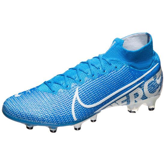 Mercurial Superfly VII Elite AG-Pro Fußballschuh Herren, blau / weiß, zoom bei OUTFITTER Online