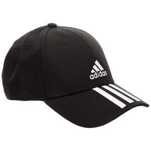Baseball 3-Stripes Strapback Cap, schwarz / weiß, zoom bei OUTFITTER Online