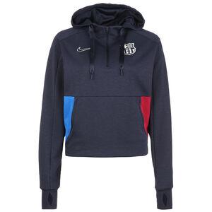 FC Barcelona Travel Fleece Midlayer Kapuzenpullover Damen, dunkelblau / rot, zoom bei OUTFITTER Online