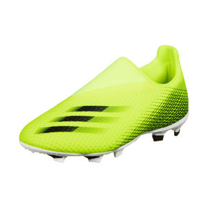 X Ghosted.3 Laceless FG Fußballschuh Kinder, neongelb / blau, zoom bei OUTFITTER Online