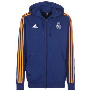 Real Madrid 3-Streifen Kapuzenjacke Herren, blau / dunkelgelb, zoom bei OUTFITTER Online