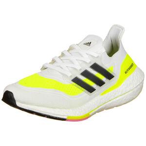 Ultraboost 21 Laufschuh Damen, weiß / neongelb, zoom bei OUTFITTER Online