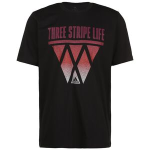 3-Stripes Hoops T-Shirt Herren, schwarz / rot, zoom bei OUTFITTER Online