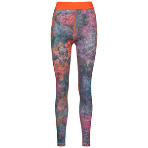 Techfit Mid-Rise Floral Funktionstight Damen, orange / lila, zoom bei OUTFITTER Online