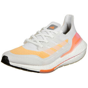 Ultraboost 21 Laufschuh Damen, weiß / neonorange, zoom bei OUTFITTER Online
