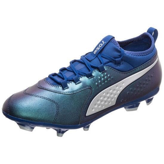 ONE 3 Leather AG Fußballschuh Herren, blau / silber, zoom bei OUTFITTER Online