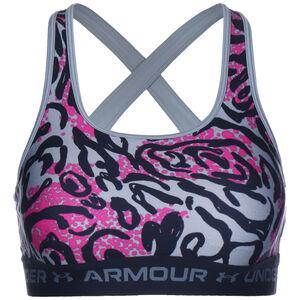 Crossback Mid Print Sport-BH Damen, blau / pink, zoom bei OUTFITTER Online