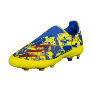X Ghosted.3 Laceless FG Fußballschuh Kinder, blau / gelb, zoom bei OUTFITTER Online