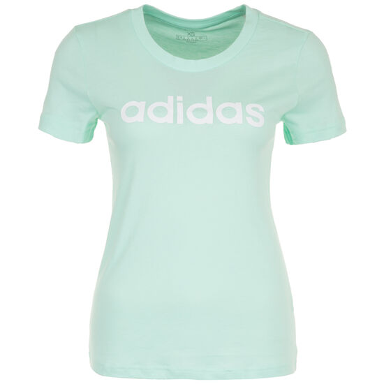 Essentials Lineal Slim Trainingsshirt Damen, mint / weiß, zoom bei OUTFITTER Online