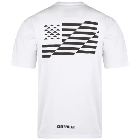 Caterpillar B-W Flag T-Shirt Herren, weiß / schwarz, zoom bei OUTFITTER Online