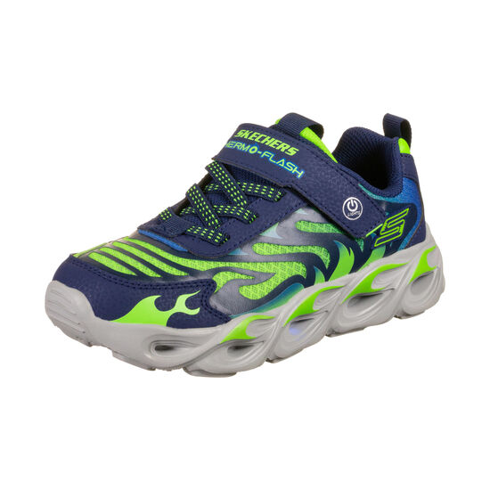 Thermo-Flash Sneaker Kinder, dunkelblau / neongrün, zoom bei OUTFITTER Online