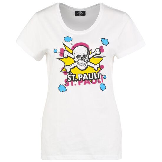 Totenkopf Pow T-Shirt Damen, weiß / gelb, zoom bei OUTFITTER Online
