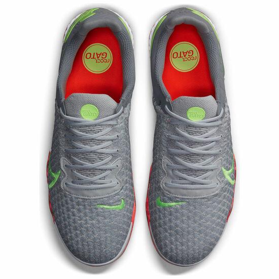 React Gato Indoor Fußballschuh Herren, grau / hellgrün, zoom bei OUTFITTER Online