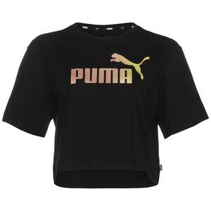 Metallic Cropped Logo Trainingsshirt Damen, schwarz / rosé gold, zoom bei OUTFITTER Online