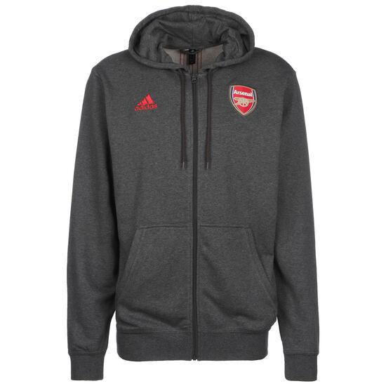 FC Arsenal 3-Streifen Kapuzenjacke Herren, grau / rot, zoom bei OUTFITTER Online