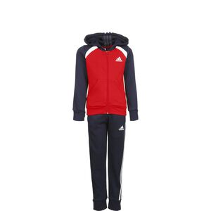 Hooded Cotton Jogginganzug Kinder, rot / dunkelblau, zoom bei OUTFITTER Online