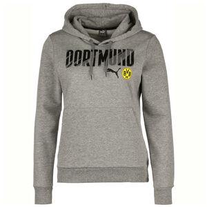 Borussia Dortmund BVB ftblCore Wording Kapuzenpullover Damen, grau / gelb, zoom bei OUTFITTER Online