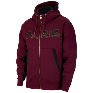 Paris St.-Germain Fleece Travel Kapuzenjacke Herren, bordeaux / schwarz, zoom bei OUTFITTER Online